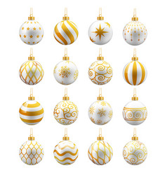 white and gold christmas balls set vector image