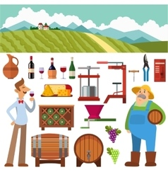 Wine production set vector image