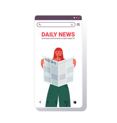 woman reading newspaper daily news press mass vector image