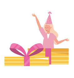 woman with party hat inside gift design vector image