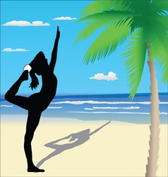 Yoga poses on the beach vector
