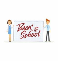 back to school - characters of happy students with vector image vector image
