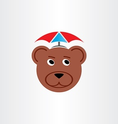 brown bear head with umbrella vector image