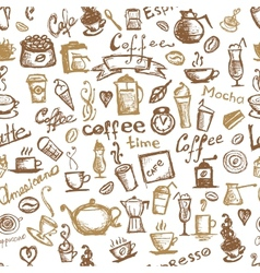 Coffee time seamless background for your design vector image vector image