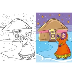 Coloring Book Of Old Women Standing Near Yurt vector image