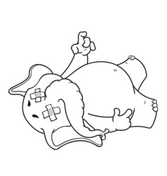 Elephant fell tired dropped dead vector