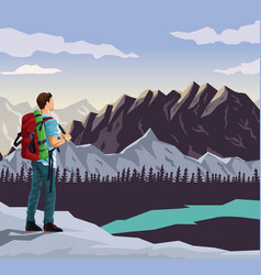 realistic landscape background of snowy mountains vector image