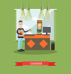 grocery store cashier in flat vector image vector image
