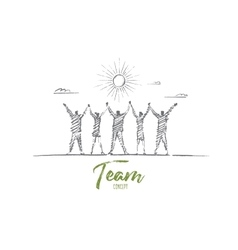 Hand drawn team concept with lettering vector image vector image