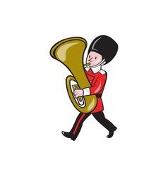 Brass band member playing tuba cartoon vector