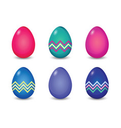 set of solid and line pattern painted easter eggs vector image vector image