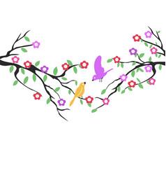 spring birds tree flower background vector image