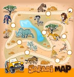 Africa Safari Map Wildlife vector image vector image