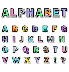 alphabet on white background vector image