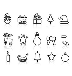 black christmas line icons vector image
