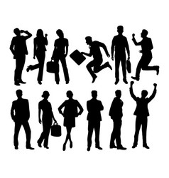 business people activity silhouettes vector image vector image