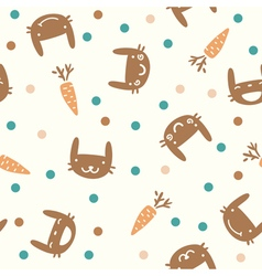 cute seamless pattern with rabbits and carrots vector image