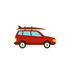 Red car with surfboard icon flat style vector image vector image