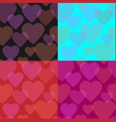 seamless pattern set of transparent hearts vector image vector image