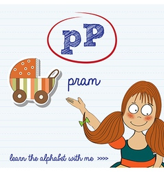 alphabet worksheet of the letter p vector image