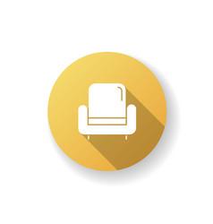 Armchair yellow flat design long shadow glyph icon vector