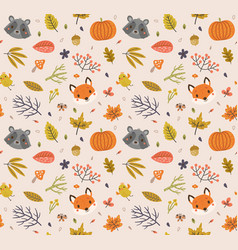 autumn pattern with cute animals and leaves vector image