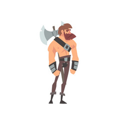Bearded muscular barbarian warrior with axe vector