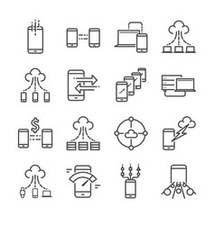 big data icon set vector image