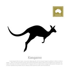 black silhouette jumping kangaroo vector image