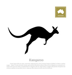 Black silhouette of jumping kangaroo vector