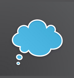 blue comic speech bubble for thoughts cloud shape vector image