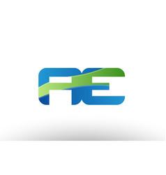 blue green ae a e alphabet letter logo vector image