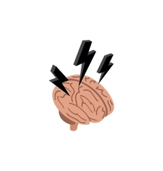 Brain with a lightning icon isometric 3d style vector