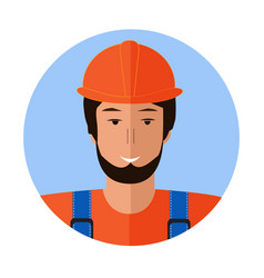 builder man face icon flat of builder man face vector image