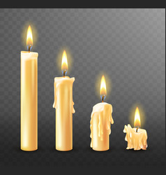Burning candle dripping or flowing wax realistic vector