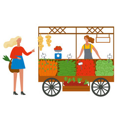 Buying vegetables and fruit grocery place vector