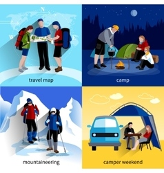 Camper people icons set vector