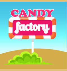 Candy factory road pointer vector