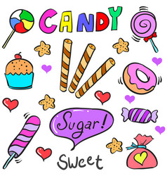 Candy sweet various of doodle style vector