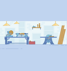 Carpentry workshop with tools and joiner machine vector