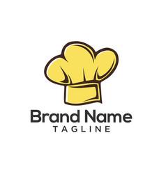 Cartoon chef hat logo template vector