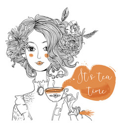 cartoon lady with tea cup vector image