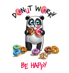 cartoon panda with donuts vector image