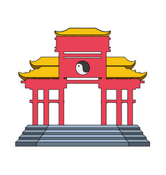 Chinese portal isolated icon vector