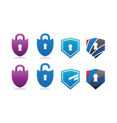 collection of padlock and shield security vector image