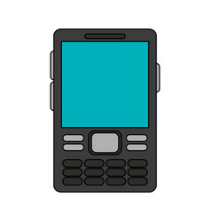 Color image cartoon cell phone device with buttons vector