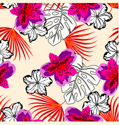 Colored and black and white floral pattern vector