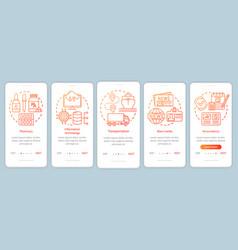 Comfort service industries onboarding mobile app vector