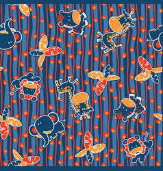 Cute jungle animals seamless pattern vector