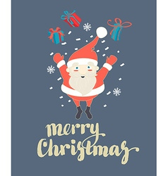 Cute Santa Claus jumping with Christmas presents vector